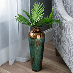Hammered Turquoise Metal Vase
