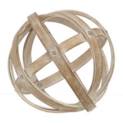 Whitewash Wooden Orb Sculpture
