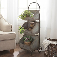 Galvanized Metal 3-Tier Magazine Rack
