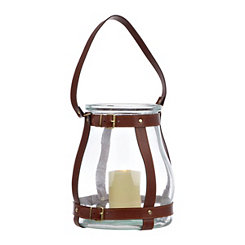 Glass and Faux Leather Lantern