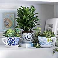 Blue Patterned Teacup Planters