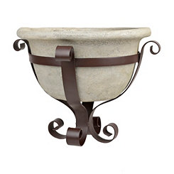 Concrete Bowl Planter in Metal Scroll Stand