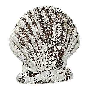 Distressed White Scallop Statue