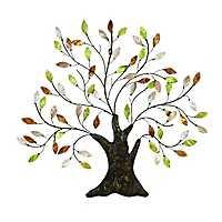 Capiz Metal Tree Wall Plaque