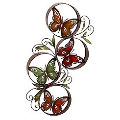 Metal Circling Butterflies Wall Plaque