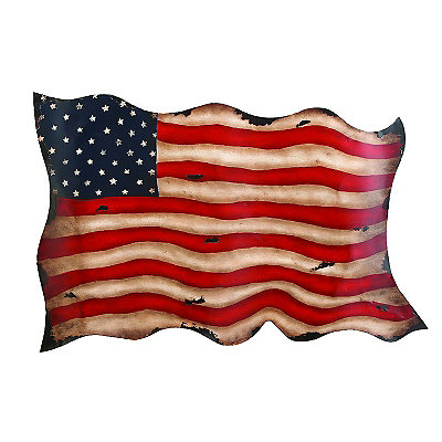 Rustic Metal American Flag Wall Plaque