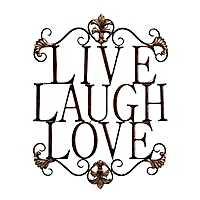 Live Laugh Love Antique Metal Wall Plaque