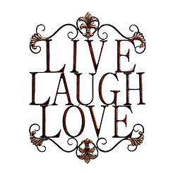 Live Laugh Love Antique Metal Wall Plaque