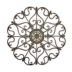 Antique Round Medallion Fleur-de-Lis Wall Plaque