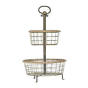 Bronze 2-Tier Beaded Basket Stand