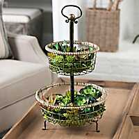 Bronze 2-Tier Beaded Basket Stand