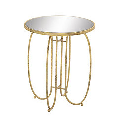 Distressed Gold Mirror Side Table