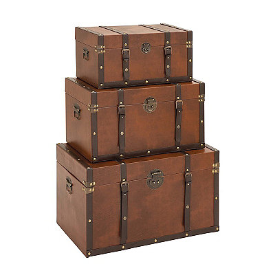 Strapped Leather Trunks, Set of 3