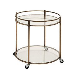 Antique Bronze Glass Serving Cart