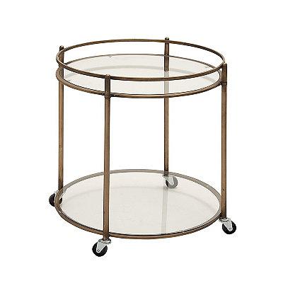 Antique Bronze Glass Serving Cart