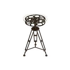 Film Reel Glass Side Table