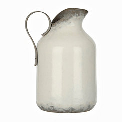 Whitewashed Metal Pitcher Vase