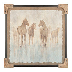 Wood Corner Horse Framed Art Print