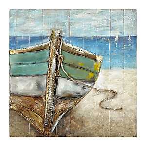 Beached Boat Wooden Art Print