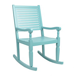 Turquoise Wood Rocking Chair