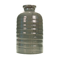 Dark Gray Ribbed Vase