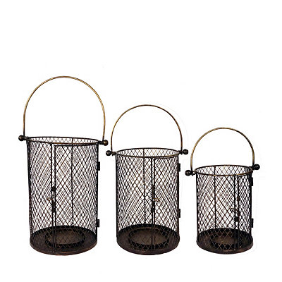 Black Wire Lanterns, Set of 3