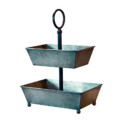 Galvanized Metal 2-Tier Tray Tower