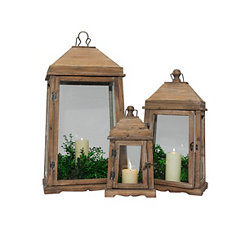 Natural Cathedral Style Lanterns, Set of 3