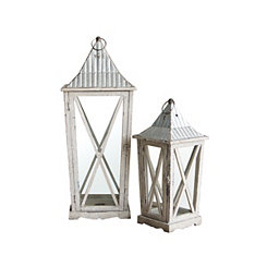 Antiqued White Wood and Metal Lanterns, Set of 2