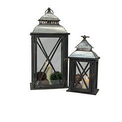 Black Vintage Wood and Metal Lanterns, Set of 2