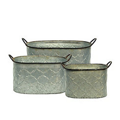 Patterned Galvanized Metal Buckets, Set of 3