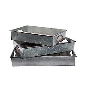 Galvanized Metal And Wood Plank Trays, Set of 3