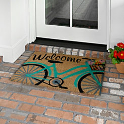 Blue Bicycle Welcome Mat