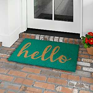 Teal Hello Doormat