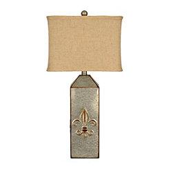 Galvanized Fleur-de-lis Lamp