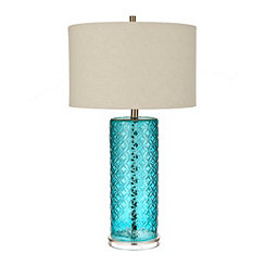 Pool Blue Embossed Table Lamp