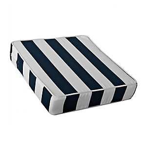 Navy and White Striped Outdoor Chair Cushion