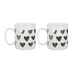 Silver Hearts Mug, Set of 2