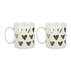 Gold Hearts Mug, Set of 2