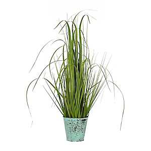 Grass Arrangement in Turquoise Metal Pot