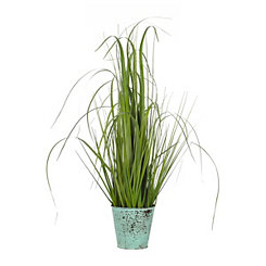Grass Arrangement in Turquoise Metal Pot