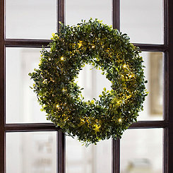 Pre-Lit Boxwood Wreath, 16 in.