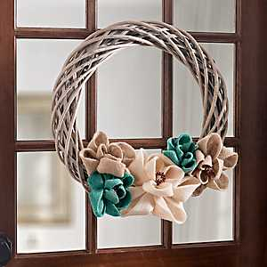 White Willow and Burlap Flowers Wreath