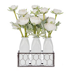 White Ranunculus Arrangement in Bottle Planters