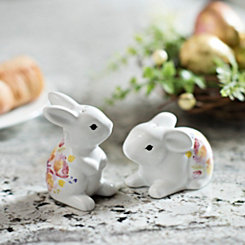Floral Easter Bunny Salt and Pepper Shakers