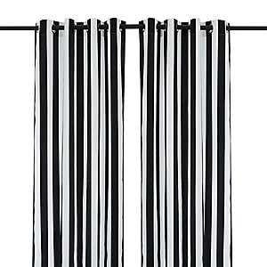 Cabana Black Stripe Outdoor Curtain Panel, 96 in.