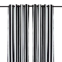 Cabana Black Stripe Outdoor Curtain Panel, 96 in.