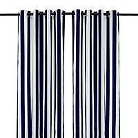 Cabana Navy Stripe Outdoor Curtain Panel, 96 in.