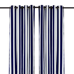 Cabana Navy Stripe Outdoor Curtain Panel, 96 in.