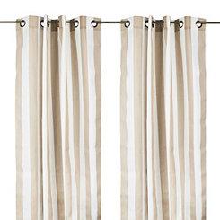 Cabana Tan Stripe Outdoor Curtain Panel, 84 in.